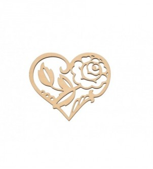 Serce ażurowe z różą S-1