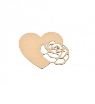 Drewniana ozdoba serce ażurowe z różą