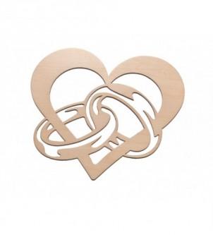 Drewniany dekor serce z obrączkami Ślub Wesele