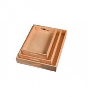 Komplet drewnianych tac