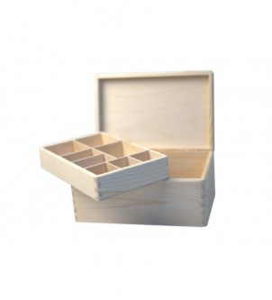 Box with a removable tray with dividers