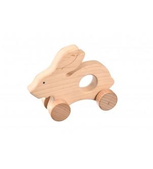 Drewniana ozdoba królik na kółkach