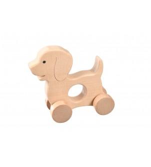 Drewniana ozdoba pies na kółkach