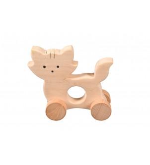 Drewniana ozdoba kot na kółkach