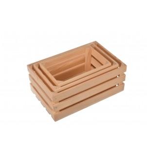 Drewniane skrzynki 3szt komplet opakowanie na prezent