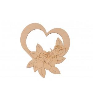Drewniana ozdoba serce z różą