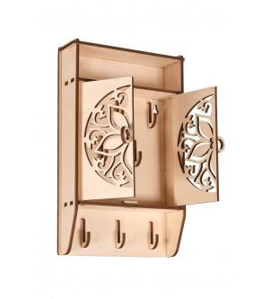 Drewniana szafka na klucze organizer ażur