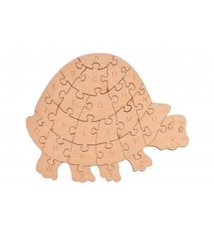 Drewniane puzzle żółwik alfabet