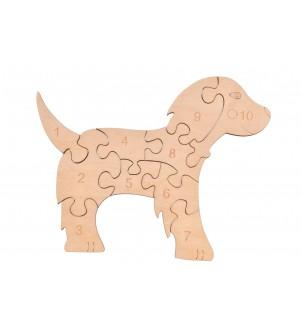 Drewniane puzzle pies do liczenia