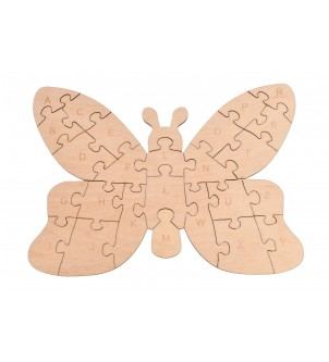 Drewniane puzzle motylek do alfabetu