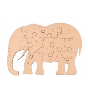 Drewniane puzzle słonik do liczenia
