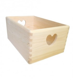 Wooden box heart 30x20x13cm