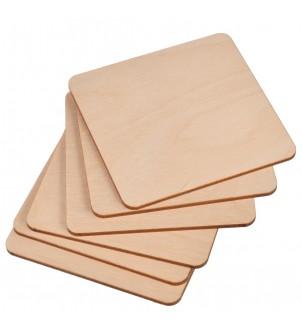 Drewniane podkładki pod kufel kwadratowe 6szt