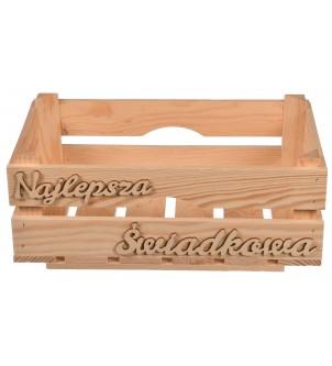 Drewniana skrzynka na podziękowania dla Świadkowej