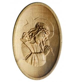 Płaskorzeźba Jezusa z drewna dębowego