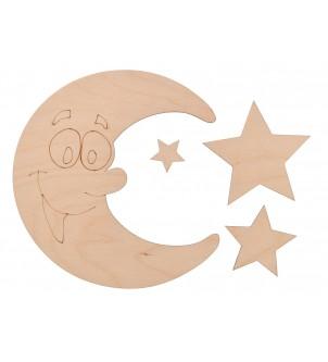 Drewniany księżyc z gwiazdkami grawer