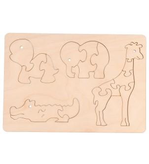 Drewniane puzzle zwierzątka edukacyjne