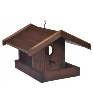 Karmnik drewniany dla ptaków brązowy