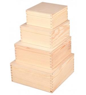 Zestaw 4 skrzynek kwadratowych