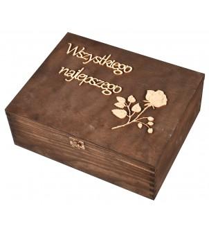 Drewniane pudełko na karafkę i szklanki brąz