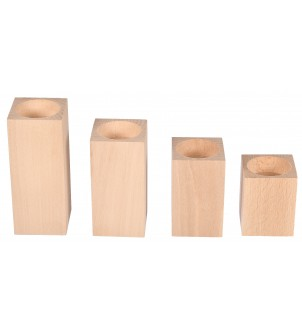 Drewniane świeczniki kwadratowe komplet 4szt