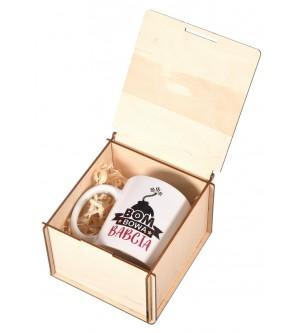 Kubek w drewnianym pudełku prezent dla Babci grawer