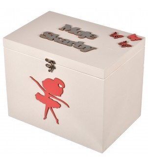 Drewniane pudełko białe dla dziewczynki