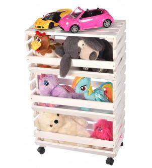 Regał biały drewniany na zabawki półki