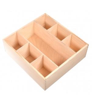 Drewniana skrzynka na karafkę i 6 szklanek decoupage