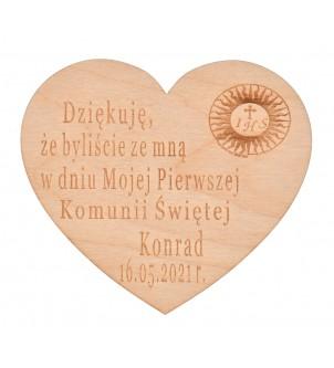 Drewniany magnes serce...