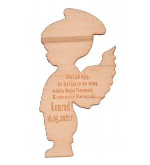 Drewniany magnes aniołek podziękowanie dla gości komunijnych