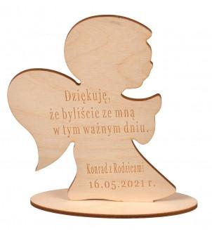 Drewniany aniołek z grawerem podziękowanie dla gości Komunia