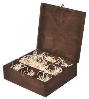 Brązowe drewniane pudełko na karafkę i 6 szklanek