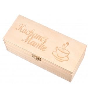 Drewniane pudełko z 3 przegrodami Kochanej Mamie