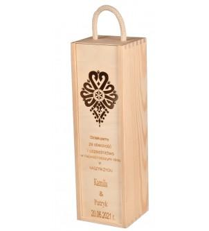 Pudełko Skrzynka na Wino Grawer Prezent Ślub