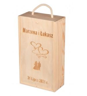Pudełko z przegródką na 2 wina z grawerem Ślub Wesele