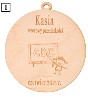 Drewniany medal dla przedszkolaka ucznia absolwenta z grawerem