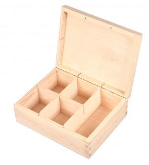 Drewniane pudełko na herbatę z 5 przegrodami