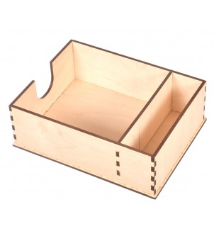Drewniany pojemnik na serwetki i przyprawy