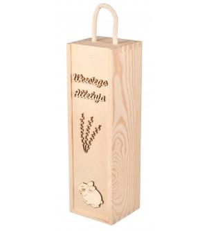 Drewniane pudełko na wino Wielkanoc