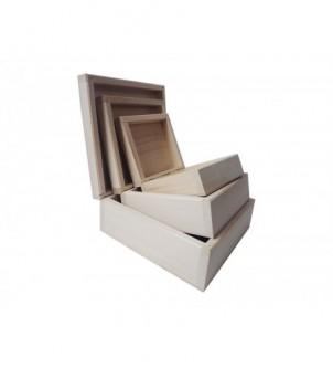 Drewniane pudełko do decoupage komplet 3 w 1