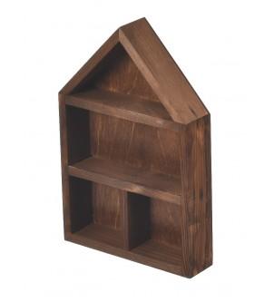 Brązowa drewniana półka organizer ścienny
