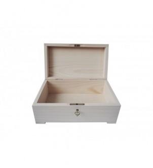 Drewniany kuferek szkatułka z kluczem do decoupage 20cm