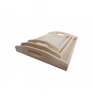 Komplet trzech drewnianych tacek