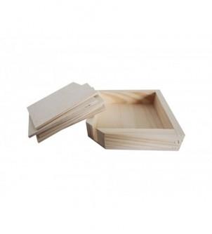 Drewniane podkładki pod kubki z skrzyneczką