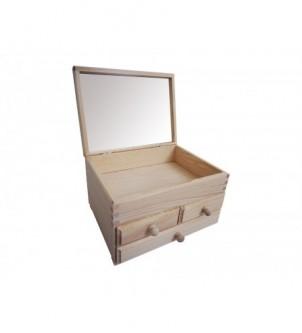 Szkatułka z lustrem i z 3 szufladkami