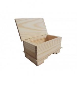 Szkatułka frezowana,ozdobna z pokrywą z litego drewna