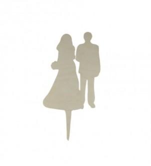 Drewniany topper na tort weselny Para Młoda