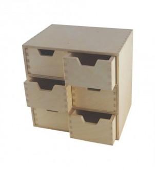 Drewniany organizer do biura z 6 szufladami