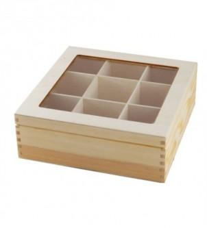 Pudełko z szybą i 9 przegrodami